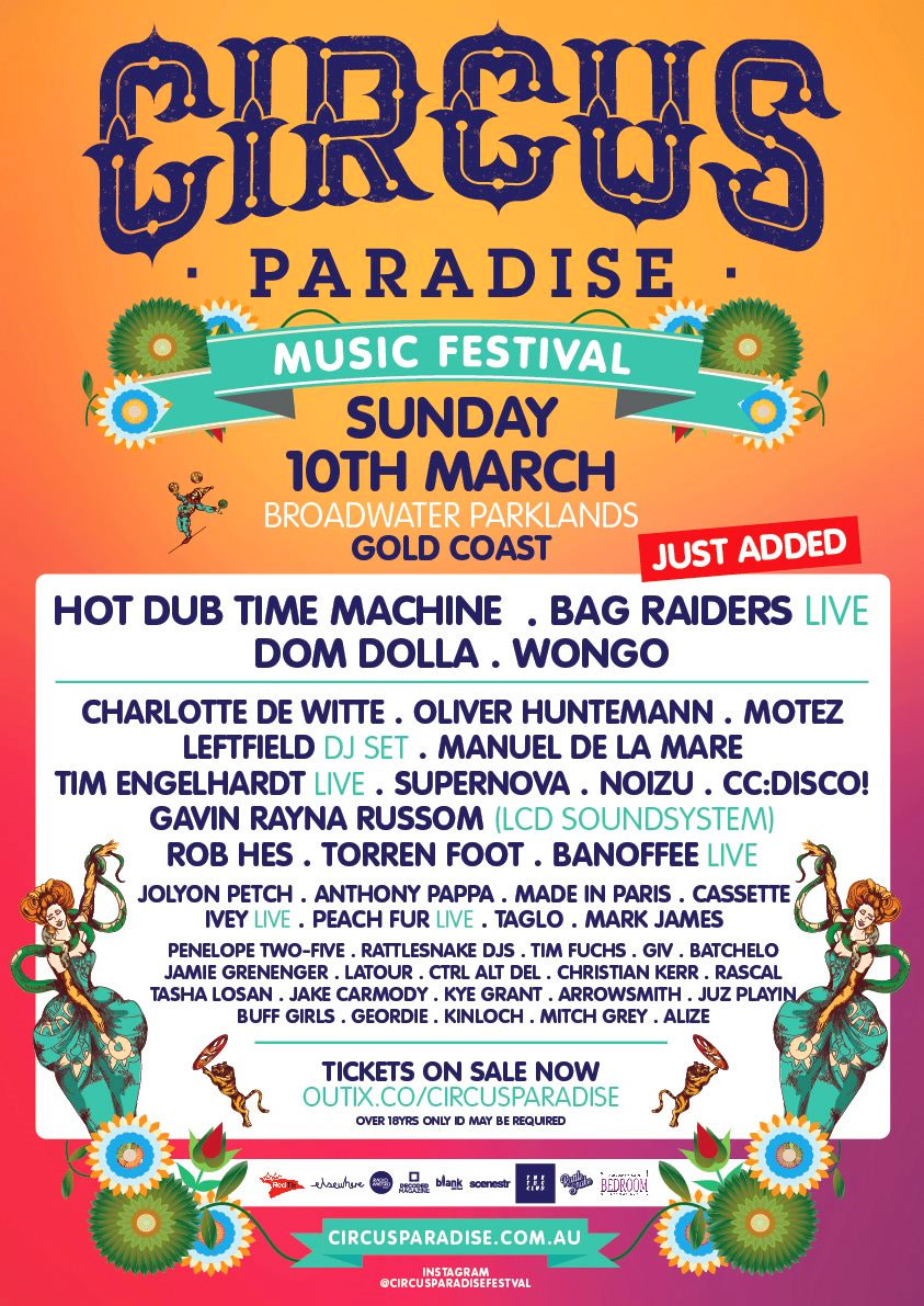 Circus-Paradise-Music-Festival-Gold-Coast-Poster-Lineup-All-Fired-Up-Fireworks-Stage-FX-QLD